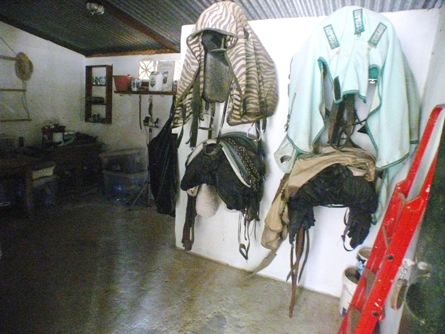 tack room with toilet