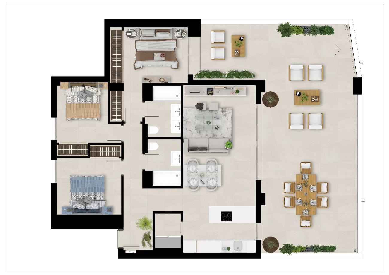 Floor plan 3 beds ground floor