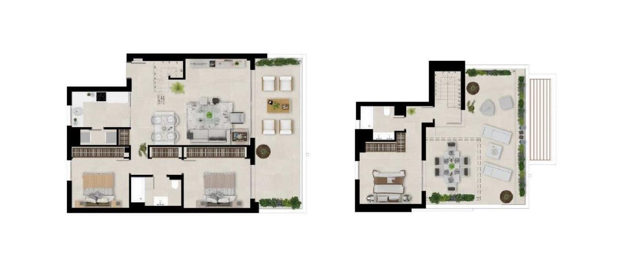 Floor plan duplex penthouse 3 beds