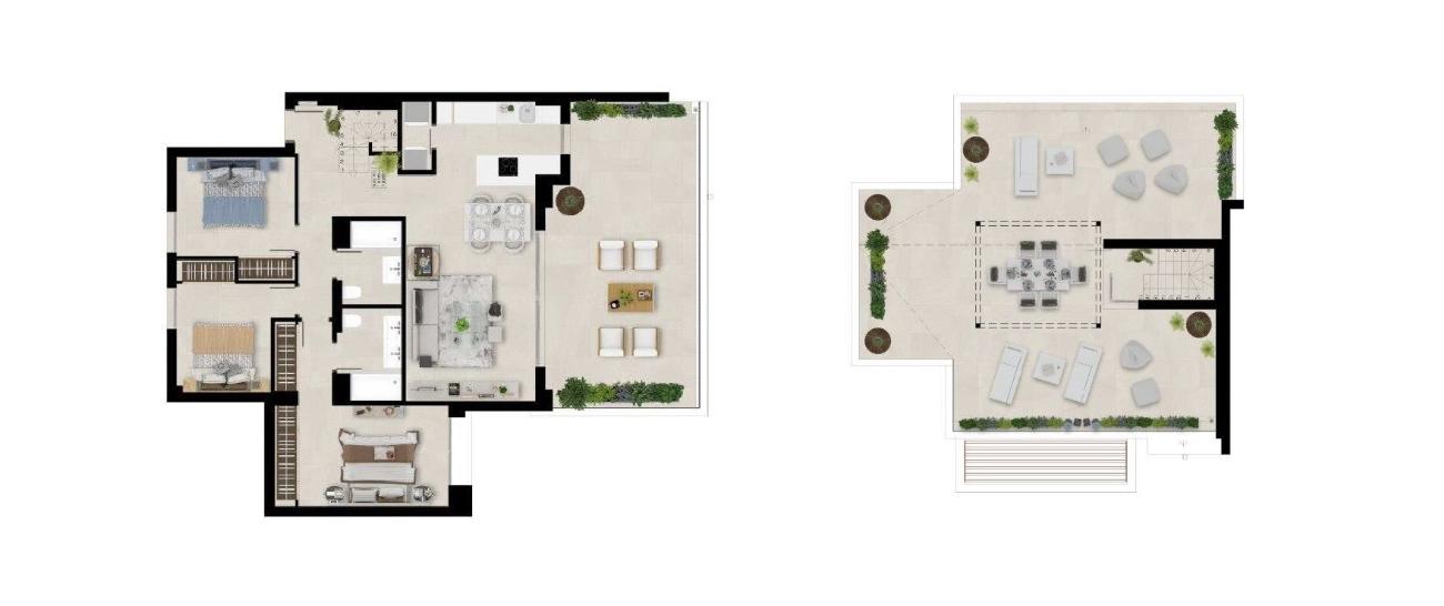 Floor plan penthouse 3 beds