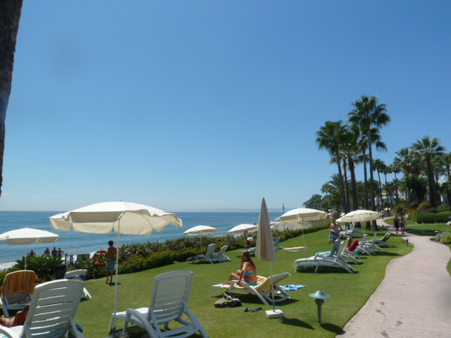 Beachfront sun bathing