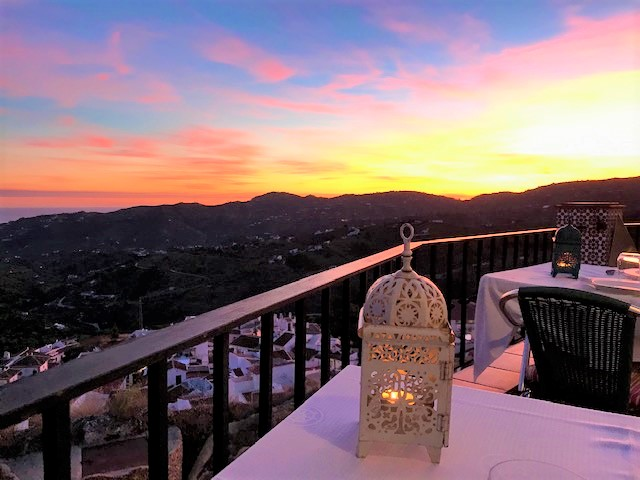 roof terrace by candle light